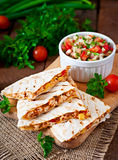 Mexican Quesadilla wrap with chicken, corn and sweet pepper Royalty Free Stock Photos