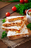 Mexican Quesadilla wrap with chicken, corn and sweet pepper Stock Images