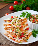 Mexican Quesadilla wrap with chicken, corn and sweet pepper Stock Photography