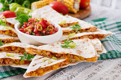 Mexican Quesadilla wrap with chicken Stock Images
