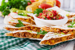 Mexican Quesadilla wrap with chicken Stock Photo