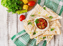 Mexican Quesadilla wrap with chicken Stock Photography