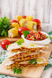 Mexican Quesadilla wrap with chicken Royalty Free Stock Photos