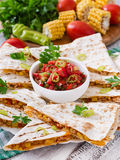 Mexican Quesadilla wrap with chicken Royalty Free Stock Images