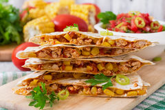 Mexican Quesadilla wrap with chicken Royalty Free Stock Photo