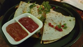 Mexican Quesadilla wrap with chicken, corn and sweet pepper. royalty free stock image