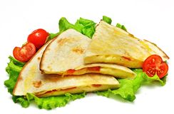 Mexican quesadillas with cheese, vegetables and salsa isolated. On a white background Stock Photography