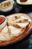 Mexican quesadillas with salsa and guacamole Royalty Free Stock Photo