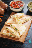 Mexican quesadillas with salsa and guacamole Stock Image