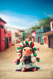 Mexican rag doll in a traditional dress on a mexican village Royalty Free Stock Image