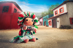 Mexican rag doll in a traditional dress on a mexican village Stock Photography