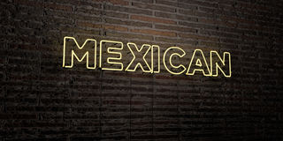MEXICAN -Realistic Neon Sign on Brick Wall background - 3D rendered royalty free stock image Stock Photos