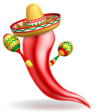 Mexican Red Chilli Pepper Character Stock Photography