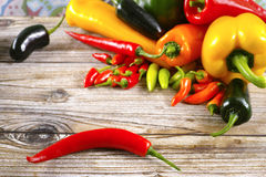 Mexican red hot chili peppers colorful mix paprika poblano serra Stock Images