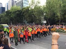 Mexican Rescue team after  19S. Mexican rescue team in day of the death parade in mexico city Stock Photos