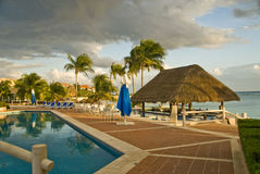 Mexican resort hotel pool Royalty Free Stock Photos