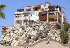 Mexican Resort House. The house built on a cliff in Cabo San Lucas resort town Mexico Stock Photo