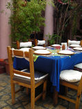 Mexican Restaurant in Chiapas, Mexico. Mexican Restaurant showing table setting in Chiapas, Mexico Stock Photo