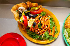 Mexican Restaurant Food. A salad at a Mexican restaurant ready to be served stock photography