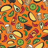 Colorful Taco Time Fiesta seamless pattern vector illustration
