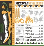 Mexican restaurant menu design template stock photography