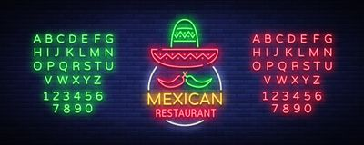 Mexican restaurant is a neon sign. Bright glow sign, neon banner, luminous logo, symbol, nightly advertisement of. Mexican food. Design template. Vector Royalty Free Stock Photography