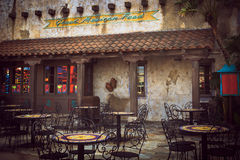 Mexican restaurant. An old mexican cantina with outdoor patio seating Stock Photo