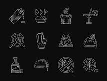 Mexican restaurant white flat line icons Stock Photography