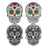Mexican retro sugar skull, Dia de los Muertos icons set stock illustration