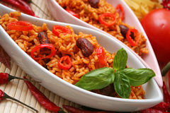 Mexican rice. A mexican meal of rice, kidney beans and chilis Stock Image