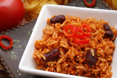 Mexican rice. A mexican meal of rice, kidney beans and chilis Royalty Free Stock Photos