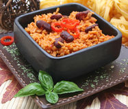 Mexican rice. A meal of mexican rice with beans Stock Photography