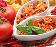 Mexican rice. A meal of mexican rice with beans Royalty Free Stock Photo