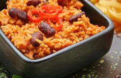 Mexican rice. With red beans in a bowl Royalty Free Stock Photography