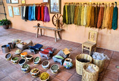 Mexican rugs. Natural materials to do hand made rugs at Oaxaca, Mexico stock image