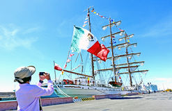 The Mexican sailboat. The sailboat Cauhtèmoc Mexican ship school parked in the port of Civitavecchia Rome Italy stock photos