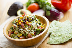 Mexican salad with garlic sauce Royalty Free Stock Photo