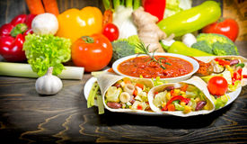Mexican Salad In Tortilla Stock Photography