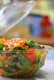 Mexican salad in a plastic bowl portrait Stock Image