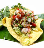 Mexican salad in a tortilla on banana leaf Stock Photography