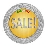 Mexican Sales. One Mexican Peso Coin with a Text that says Sale inside Stock Photo