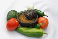 Mexican Salsa. Genuine Mexican salsa generally is made in a lava stone mortar called a molcajete. Key ingredients are tomato, onion, garlic and hot pepper, chile royalty free stock photos