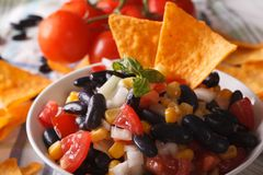 Mexican salsa in a bowl and corn chips nachos macro. horizontal Stock Images