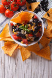Mexican salsa and corn chips nachos. vertical top view Stock Images