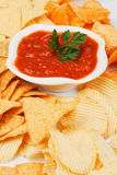 Mexican salsa with corn and potato chips Royalty Free Stock Photos