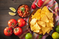 Mexican salsa dip and nachos tortilla chips Royalty Free Stock Photography