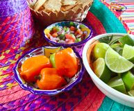 Mexican sauces pico de gallo habanero chili sauce Royalty Free Stock Image