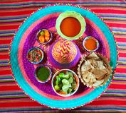 Mexican sauces spices chili on Mexican hat Royalty Free Stock Images
