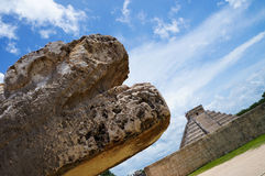 Mexican sculpture. A mexican sculputure withe the temple of Kukulkan situed in the archaeological site of chichen itza, Yucatan, Mexico Royalty Free Stock Photography