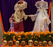 Mexican sculpture of a skeletons, day of dead. Mexico City, Mexico - November 1, 2016: Mexican sculpture of a skeletons, day of dead Dia de los Muertos, Mexico Royalty Free Stock Images